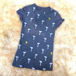 PEANUTS Snoopy & Woodstock grey t-shirt shirt top